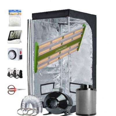 "TopoGrow-AlphaPar New Tech LED APE900 Full-Spectrum Grow Light+32""X32""X63"" Indoor Grow Tent+4"" Carbon Filter Exhaust Inline Fan Ventilation Kit Complete for Hydroponic Plant Growing"