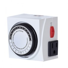 TopoGrow Analog 24 Hour Plug in Dual 110V Heavy Duty Electrical Outlet Grounded Hydroponic Grow Light Timer