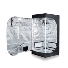 "TopoGrow D-Door 24""X24""X48"" Indoor Grow Tent Room 600D Mylar High Reflective W/ Plastic Corners"