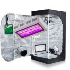 "TopoGrow LED 300W Grow Light kit W/24""x24""x48"" 600D Grow Tent With Green Window COMBO Plant Germination Kits Indoor Hydroponics System, LED300W/24""X24""X48"" D-door W/Window"